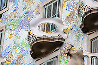 Spain, Barcelona. Casa Batlló is one of Antoni Gaudí's masterpieces. Exterior.
