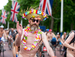 June 10, 2017 - London, London, United Kingdom - Image ©Licensed to i-Images Picture Agency. 10/06/2017. London, United Kingdom..Hundreds of cyclists ride through London naked, to highlight carbon emissions and the damage done to the planet by globalisation.They hope for a greener future.. World Naked Bike ride, London. Picture by Mark Thomas / i-Images (Credit Image: © Mark Thomas/i-Images via ZUMA Press)