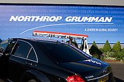 Northrup Grumman banner and buggy driver/employee at the Farnborough Airshow.
