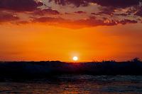 at sunset over Nahualapa beach Aposentillo Chinandega in Nicaragua