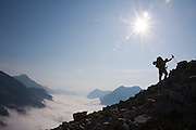 Jim Prager hikes up the steep slopes of Whatcom Peak in North Cascades National Park, Washington.