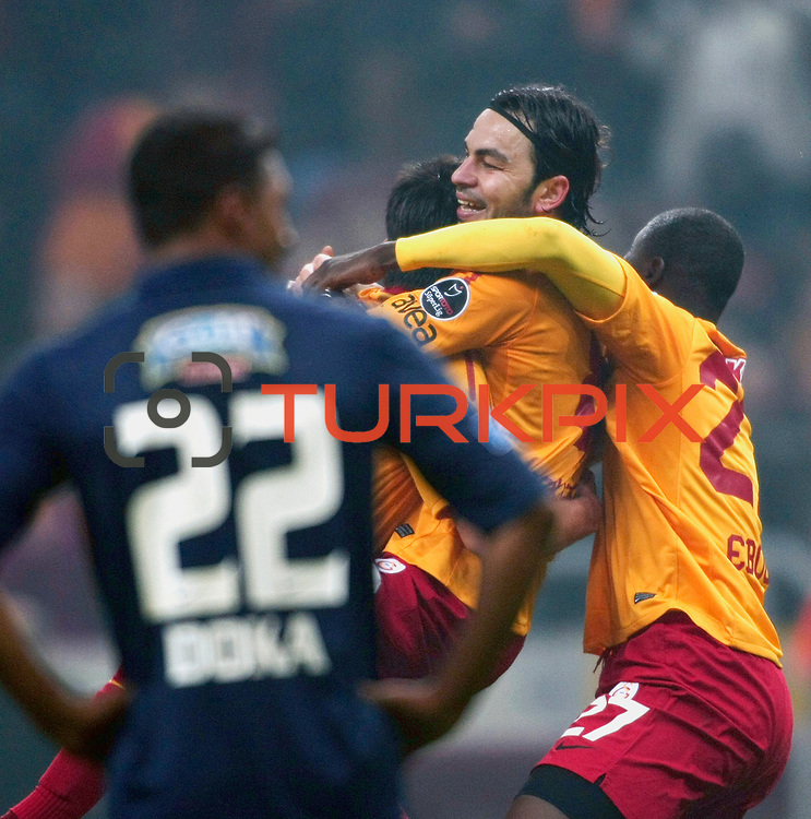 Galatasaray's Selcuk Inan (2ndR) celebrate his goal with team mate during their Turkish Super League soccer match Galatasaray between IBBSpor at the TT Arena at Seyrantepe in Istanbul Turkey on Tuesday, 03 January 2012. Photo by TURKPIX