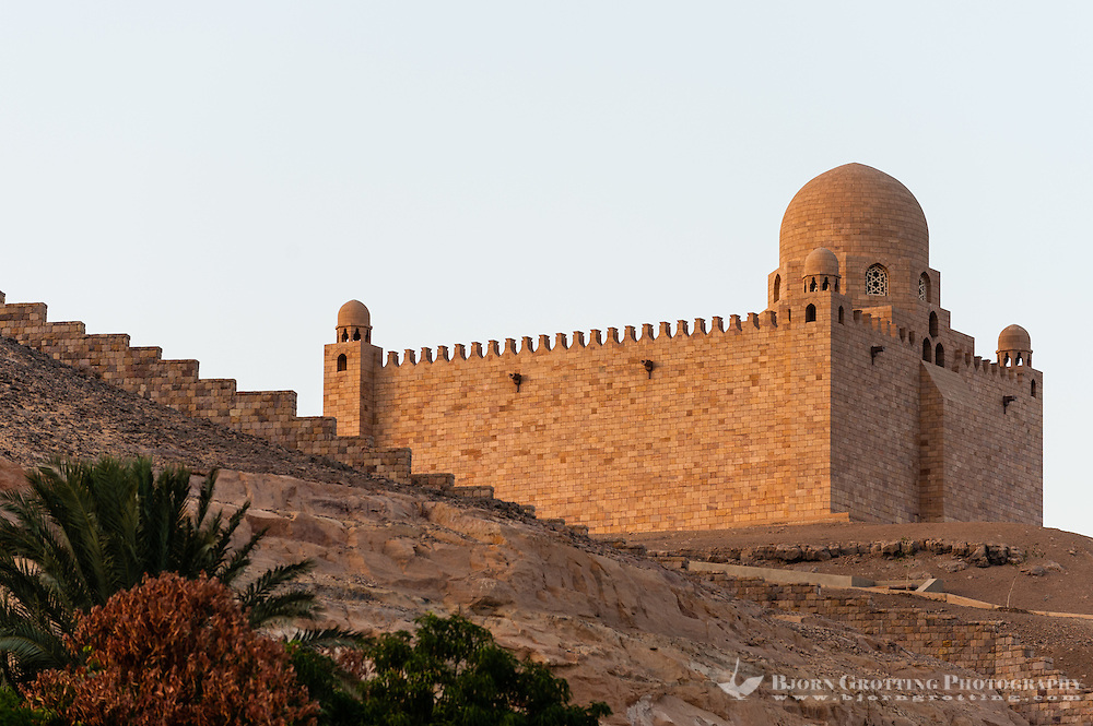 Egypt. Aswan stands on the east bank of the Nile. The Mausoleum of Aga Khan.