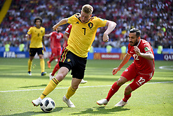 June 23, 2018 - Moscow, RUSSIA - Belgium's Kevin De Bruyne and Tunesia's Ali Maaloul fight for the ball during the second game of Belgian national soccer team the Red Devils against Tunisia national team in the Spartak stadium, in Moscow, Russia, Saturday 23 June 2018. Belgium won its first group phase game. BELGA PHOTO DIRK WAEM (Credit Image: © Dirk Waem/Belga via ZUMA Press)