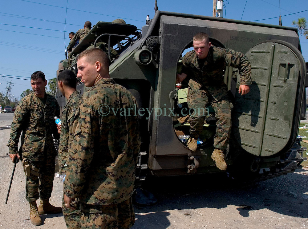 08 Sept 2005. New Orleans, Louisiana. Hurricane Katrina aftermath. <br /> Marines in AAV's (armoured amphibious vehicles) in East New Orleans as they continue search and rescue missions.<br /> Photo; ©Charlie Varley/varleypix.com