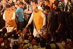 April 26, 2017 - Kolkata, West Bengal, India - B.J.P. President Amit Shah  greets B.J.P. activist during a program in Mahajati Sadan, Kolkata. Bharatiya Janta Party?s National President, Amit Shah addresses the intelligentsia of West Bengal at Mahajati Sadan in Kolkata. (Credit Image: © Saikat Paul/Pacific Press via ZUMA Wire)