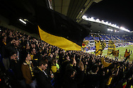 Borussia Dortmund fans chanting during pre match warm up. UEFA Europa League round of 16, 2nd leg match, Tottenham Hotspur v Borussia Dortmund at White Hart Lane in London on Thursday 17th March 2016<br /> pic by John Patrick Fletcher, Andrew Orchard sports photography.