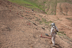 © Licensed to London News Pictures. 03/04/2013. London, UK. UN International Mine Awareness Day [FILE PHOTO NOT FOR ONLINE USE]. A Mines Advisory Group deminer uses a mine detector in a minefield near Dalo Village, Kirkuk, Iraq. Photo credit: Matt Cetti-Roberts/LNP