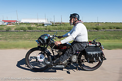 Chopper Dave Monson of WA rides his 1914 Harley-Davidson through the Kansas countryside during the Motorcycle Cannonball Race of the Century. Stage-9 Dodge City, KS to Pueblo, CO. USA. Monday September 19, 2016. Photography ©2016 Michael Lichter.