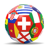 3D render of soccer football with drop shadow on white background