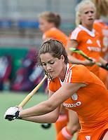 EINDHOVEN - Marloes Keetels, zaterdag bij de oefenwedstrijd tussen het Nederlands team van Jong Oranje Dames en dat van de Vernigde Staten. Volgende week gaat het WK-21 in Duitsland van start. FOTO KOEN SUYK