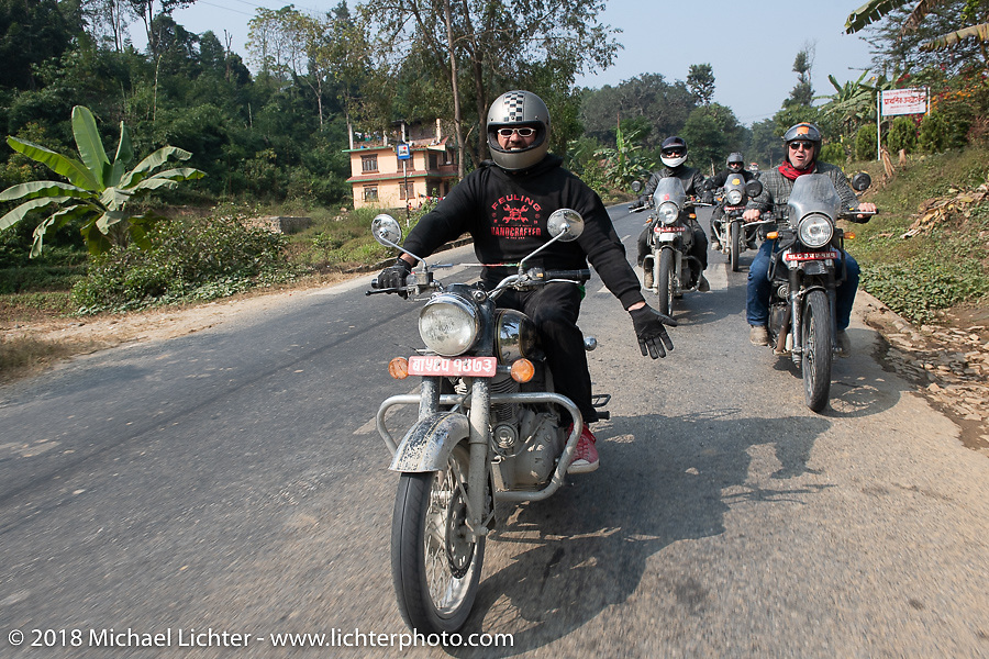 Beanre (Kevin Doebler) (L) and Danny Ochs on day-9 of our Himalayan Heroes adventure riding from Pokhara to Nuwakot, Nepal. Wednesday, November 14, 2018. Photography ©2018 Michael Lichter.