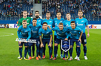 ST PETERSBURG, RUSSIA - OCTOBER 19, 2017. UEFA Europa League group stage: Zenit St Petersburg (Russia) 3 – 1 Rosenborg BK (Norway). Zenit St Petersburg team.