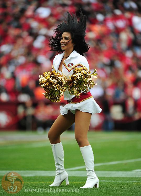 October 11, 2009; San Francisco, CA, USA; San Francisco 49ers Gold Rush cheerleader Ariana Torres performs during the second quarter against the Atlanta Falcons at Candlestick Park. The Falcons defeated the 49ers 45-10. Mandatory Credit: Kyle Terada-Terada Photo