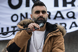 London, UK. 11 January, 2020. Tez Ilyas, stand-up comedian, addresses the No War on Iran demonstration in Trafalgar Square organised by Stop the War Coalition and the Campaign for Nuclear Disarmament to call for deescalation in the Middle East following the assassination by the United States of Iranian General Qassem Soleimani and the subsequent Iranian missile attack on US bases in Iraq.
