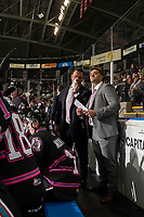 KELOWNA, BC - SEPTEMBER 21:  Kelowna Rockets' head coach Adam Foote speaks to assistant coach Vern Fiddler on the bench against the Spokane Chiefs  at Prospera Place on September 21, 2019 in Kelowna, Canada. (Photo by Marissa Baecker/Shoot the Breeze)