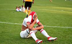 Cape Town-180512  Ajax Cape Town striker tashreeq Morris in tears after losing 2-1 to Kaizer Chiefs in the last game of the PSL at Cape Town stadium.Ajax will now play the promotion /relegation play-offs. photographer:Phando Jikelo/African News Agency/ANA