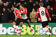 Sofiane Boufal of Southampton celebrates with his team mates Virgil Van Dijk of Southampton and Steven Davis of Southamptonafter he scores a goal to make it 1-0 .Premier league match, Southampton v West Bromwich Albion at the St. Mary's Stadium in Southampton, Hampshire, on Saturday 21st  October 2017.<br /> pic by Bradley Collyer, Andrew Orchard sports photography.