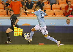 July 18, 2018 - Houston, TX, U.S. - HOUSTON, TX - JULY 18:  Sporting Kansas City forward Daniel Salloi (20) traps the ball during the US Open Cup Quarterfinal soccer match between Sporting KC and Houston Dynamo on July 18, 2018 at BBVA Compass Stadium in Houston, Texas. (Photo by Leslie Plaza Johnson/Icon Sportswire) (Credit Image: © Leslie Plaza Johnson/Icon SMI via ZUMA Press)