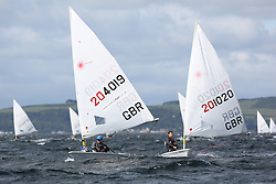 Day 4 NeilPryde Laser National Championships 2014 held at Largs Sailing Club, Scotland from the 10th-17th August.<br /> <br /> 204019, Jamie CALDER, 201020, Adam STONE<br /> <br /> Image Credit Marc Turner