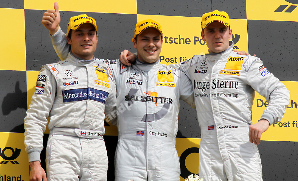 Podium after round 1 of the 2010 DTM in Hockenheim with Gary Paffett, Bruno Spengler and Jamie Green (all Mercedes). Photo: Grand Prix Photo/ Michael Stirnberg