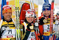 ◊Copyright:<br />GEPA pictures<br />◊Photographer:<br />Mario Kneisl<br />◊Name:<br />Henkel<br />◊Rubric:<br />Sport<br />◊Type:<br />Biathlon<br />◊Event:<br />IBU WM 2005, 15 km Einzel, Damen<br />◊Site:<br />Hochfilzen, Austria<br />◊Date:<br />08.03.05<br />◊Description:<br />Ribo Sun (CHN), Andrea Henkel (GER), Linda Tjoerhom (NOR), Medaille<br />◊Archive:<br />DCSKN-0803054303<br />◊RegDate:<br />08.03.2005<br />◊Note:<br />8 MB - KA/DM - Nutzungshinweis: Es gelten unsere Allgemeinen Geschaeftsbedingungen (AGB) bzw. Sondervereinbarungen in schriftlicher Form. Die AGB finden Sie auf www.GEPA-pictures.com.<br />Use of picture only according to written agreements or to our business terms as shown on our website www.GEPA-pictures.com.