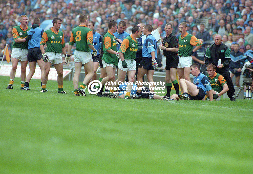 28-07-1996. Meath v Dublin - Leinster SFC Final at Croke Park.<br /> Flare-Up.<br /> Photo: John Quirke / www.quirke.ie<br /> ©John Quirke Photography, 16 Proudstown Road, Navan. Co. Meath. (info@quirke.ie / 046-9028461 / 087-2579454).