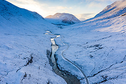 Aerial view of Glen Etive after snow in December 2020, Scotland, UK