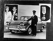 03/07/1961<br /> 07/03/1961<br /> 03 July 1961<br /> Irish Shell, Humber Snipe car with Mr Pike who was chauffeur for the visit of Prince Rainier and Princess Grace of Monaco. Note the Monaco coat of arms affixed to the grill.  On left is an image of the royal couple and on right is a medal Mr. Pike received.