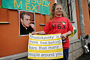 Moscow, Russia, 12/08/2004..Supporters of former Yukos CEO Mikhail Khodorkovsky and business associate Platon Lebedev outside court where they face charges of fraud, embezzlement and tax evasion.