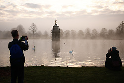 © Licensed to London News Pictures. 27/11/2020. London, UK. Fog lingers on the water surrounding the Diana Fountain in Bushy Park, south west London. Parts of the UK are experiencing freezing weather and low temperatures. Photo credit: Peter Macdiarmid/LNP