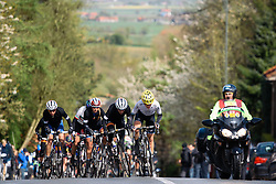 Emma Johansson leads on the climb at Dwars door de Westhoek 2016. A 127km road race starting and finishing in Boezinge, Belgium on 24th April 2016.