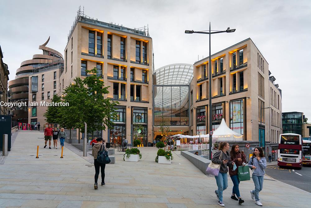 Exterior view of new St James Quarter shopping mall in Edinburgh, Scotland, UK