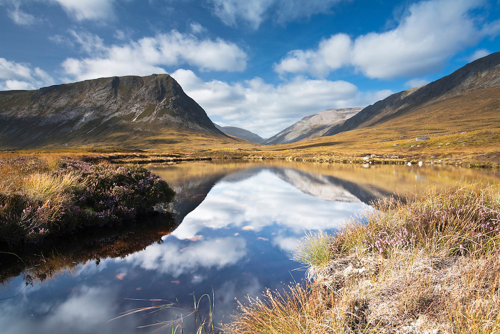 Looking up Glen Dee towards Ben Macdui and The Devil's Point, Cairngorm and Grampian Mountains, Scotland, Uk