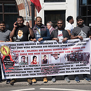 British Tamils, protest of the Sri Lanka's President Maithripala Sirisena attend the Commonwealth Confrence Who has committed Genocidial Criminals against Tamils people torture, rape and demand all politic prisonal and children to be release without a trail and chanting expel from Commonwealth of human rights abuse on 19 April 2018, London, UK