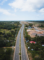 Aerial view of an empty highway due to the coronavirus pandemic in Panglao, Bohol, Philippines