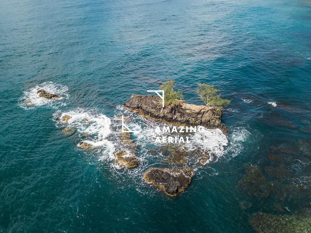 Aerial view of small island Motu'Anapa in Tahiti, French Polynesia.
