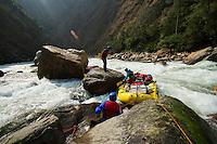 Lining rafts down unrunnable secion of  the Drangme Chhu (river) in Bhutan.