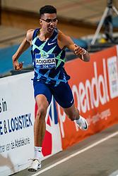 Onyema Adigida in action on the 200 meter final during AA Drink Dutch Athletics Championship Indoor on 21 February 2021 in Apeldoorn.