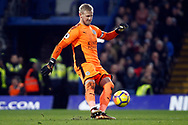 Kasper Schmeichel , the goalkeeper of Leicester City in action. Premier League match, Chelsea v Leicester City at Stamford Bridge in London on Saturday 13th January 2018.<br /> pic by Steffan Bowen, Andrew Orchard sports photography.