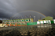 Rainbow over Plymouth Argyle's Home Park after the Sky Bet League 2 match between Plymouth Argyle and York City at Home Park, Plymouth, England on 28 March 2016. Photo by Graham Hunt.