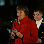 The Mayor of Oslo switch on The Christmas tree in Trafalgar Square is illuminated after the annual lights switch-on in London, December 1, 2016. The tree has been a gift since 1947 from the people of Norway in recognition of Britain's support during World War II, London,UK. Photo by See Li