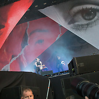 Photographers take pictures as Swedish singer Lykke Li performs on the main stage of Sziget Festival held in Budapest, Hungary on Aug. 8, 2018. ATTILA VOLGYI