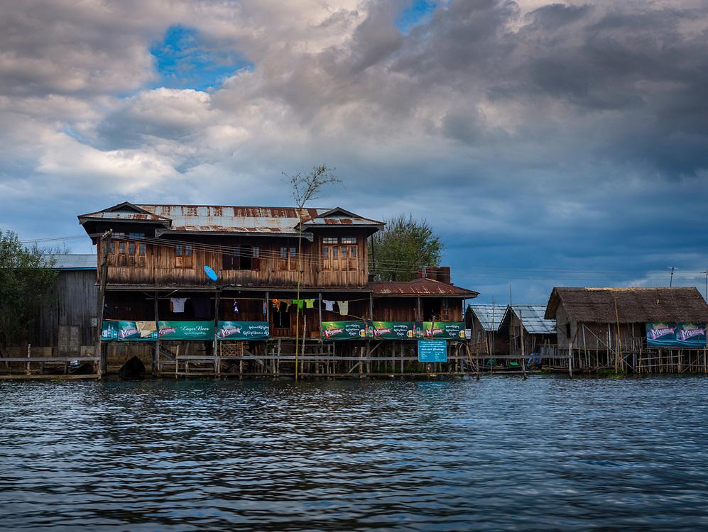 INLE LAKE, MYANMAR - CIRCA DECEMBER 2017: Typical house and restaurant built on stilts in Inle Lake, Myanmar