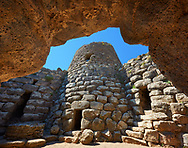 Picture and image of the central courtyard and prehistoric magalith ruins of Santu Antine Nuraghe tower, archaeological site, Bronze age (19-18th century BC), Torralba, Sardinia. .<br /> <br /> If you prefer you can also buy from our ALAMY PHOTO LIBRARY  Collection visit : https://www.alamy.com/portfolio/paul-williams-funkystock/santu-antine-nuraghe-sardinia.html<br /> Visit our PREHISTORIC PLACES PHOTO COLLECTIONS for more   photos  to download or buy as prints https://funkystock.photoshelter.com/gallery-collection/Prehistoric-Neolithic-Sites-Art-Artefacts-Pictures-Photos/C0000tfxw63zrUT4