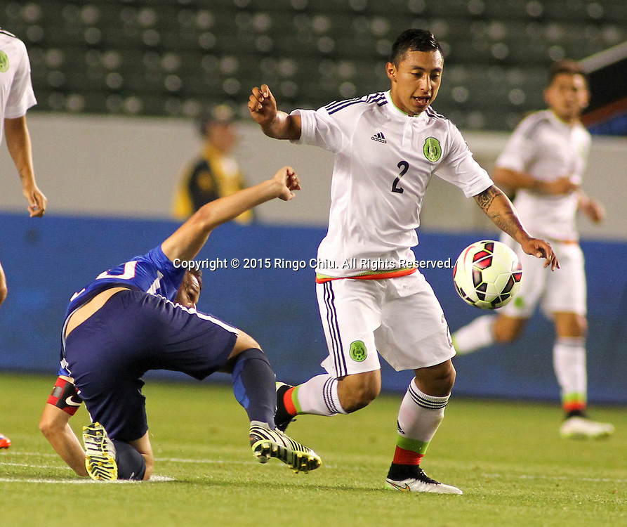 Mexico's Gil Bur³n #2 actions during a men's national team international friendly match against United States, April 22, 2015, at StubHub Center in Carson, California. United States won 3-0. (Photo by Ringo Chiu/PHOTOFORMULA.com)