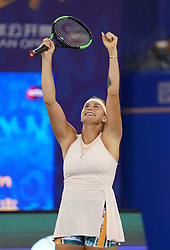 WUHAN, Sept. 29, 2018  Aryna Sabalenka of Belarus poses after winning the singles final match against Anett Kontaveit of Estonia at the 2018 WTA Wuhan Open tennis tournament in Wuhan, central China's Hubei Province, on Sept. 29, 2018. Aryna Sabalenka won 2-0 and claimed the title. (Credit Image: © Cheng Min/Xinhua via ZUMA Wire)