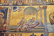 The Medieval mosaics of the ceiling of The Baptistry of Florence Duomo ( Battistero di San Giovanni ) showing an Anel telling the sleeping three wise men to travel and find the baby Jesus ,  started in 1225 by Venetian craftsmen in a Byzantine style and completed in the 14th century. Florence Italy .<br /> <br /> If you prefer you can also buy from our ALAMY PHOTO LIBRARY  Collection visit : https://www.alamy.com/portfolio/paul-williams-funkystock/byzantine-art-antiquities.html . Type -   Florence   - into the LOWER SEARCH WITHIN GALLERY box. Refine search by adding subject etc<br /> <br /> Visit our BYZANTINE ART PHOTO COLLECTION for more   photos  to download or buy as prints https://funkystock.photoshelter.com/gallery-collection/Roman-Byzantine-Art-Artefacts-Antiquities-Historic-Sites-Pictures-Images-of/C0000lW_87AclrOk