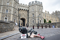 A bandaged giant pigeon holds a sign reading 'End Pigeon-Racing Cruelty' at a PETA UK protest outside Windsor Castle on 1 July 2020 in Windsor, United Kingdom. Animal rights charity PETA UK is calling on the Queen, who is currently isolating at Windsor Castle, to cut ties with pigeon racing following a PETA US investigation which revealed that all eight birds sent by the Queen to participate in the 2020 South African Million Dollar Pigeon Race (SAMDPR) died in quarantine and that fewer than a quarter of the birds entered for the race subsequently complete it.