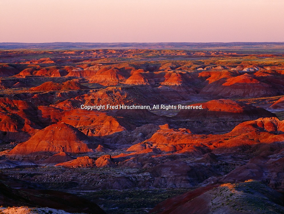 Painted Desert at sunset, view from east of Kachina Point, Petrified Forest National Park, Arizona.